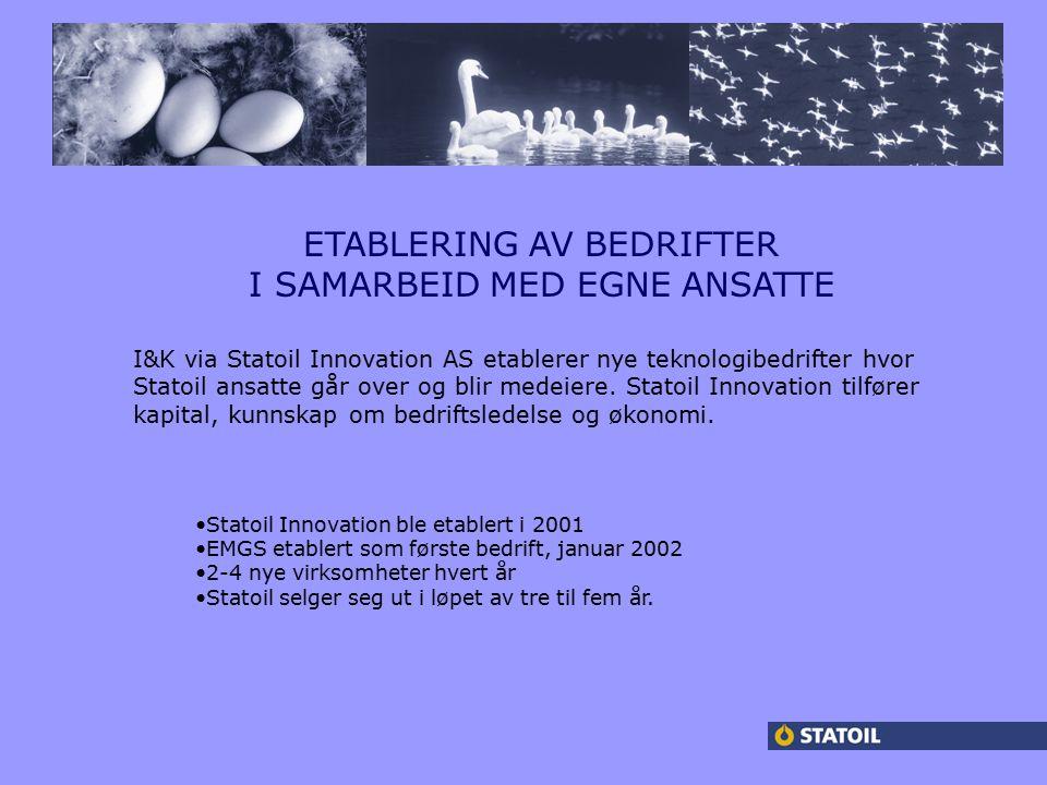 ETABLERING AV BEDRIFTER I SAMARBEID MED EGNE ANSATTE I&K via Statoil Innovation AS etablerer nye teknologibedrifter hvor Statoil ansatte går over og blir medeiere.