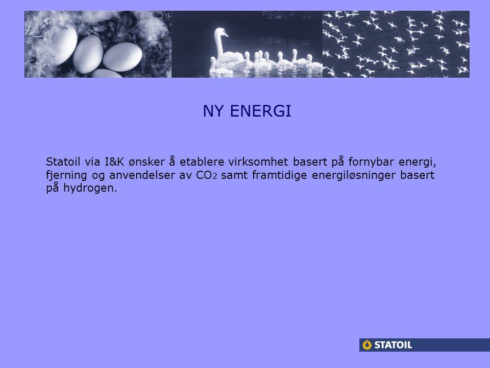 NY ENERGI Statoil via I&K ønsker å etablere virksomhet basert på fornybar energi, fjerning og anvendelser av CO 2 samt framtidige energiløsninger basert på hydrogen.