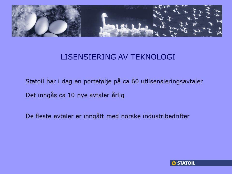 f LISENSIERING AV TEKNOLOGI Statoil har i dag en portefølje på ca 60 utlisensieringsavtaler Det inngås ca 10 nye avtaler årlig De fleste avtaler er inngått med norske industribedrifter