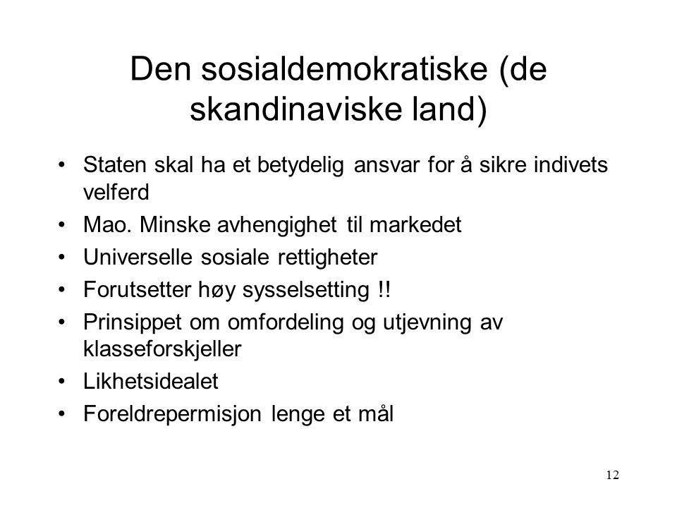 12 Den sosialdemokratiske (de skandinaviske land) Staten skal ha et betydelig ansvar for å sikre indivets velferd Mao. Minske avhengighet til markedet