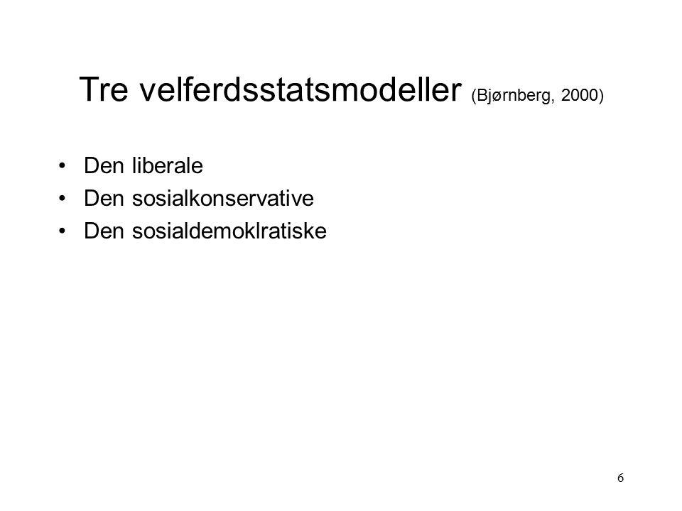 6 Tre velferdsstatsmodeller (Bjørnberg, 2000) Den liberale Den sosialkonservative Den sosialdemoklratiske