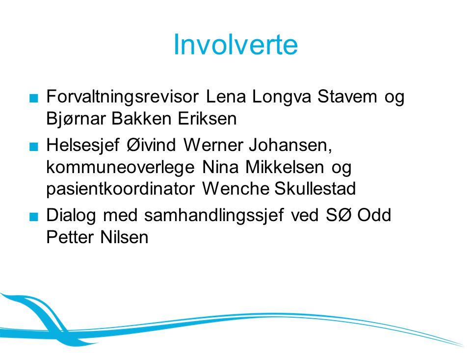 Involverte ■Forvaltningsrevisor Lena Longva Stavem og Bjørnar Bakken Eriksen ■Helsesjef Øivind Werner Johansen, kommuneoverlege Nina Mikkelsen og pasi