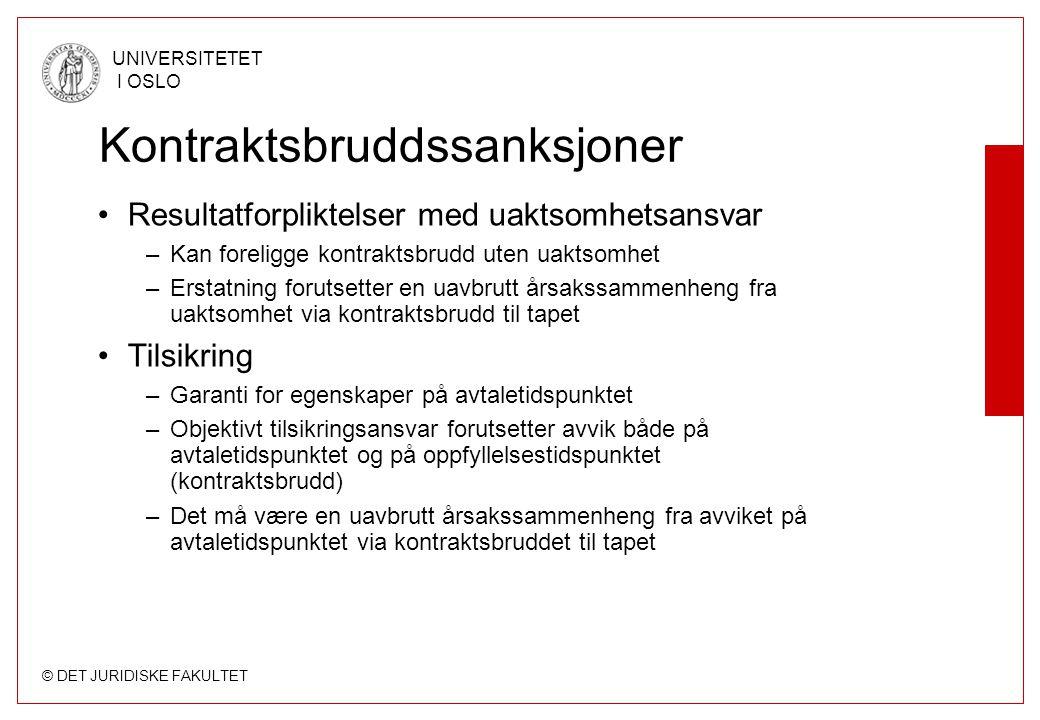 © DET JURIDISKE FAKULTET UNIVERSITETET I OSLO Kontraktsbruddssanksjoner Resultatforpliktelser med uaktsomhetsansvar –Kan foreligge kontraktsbrudd uten
