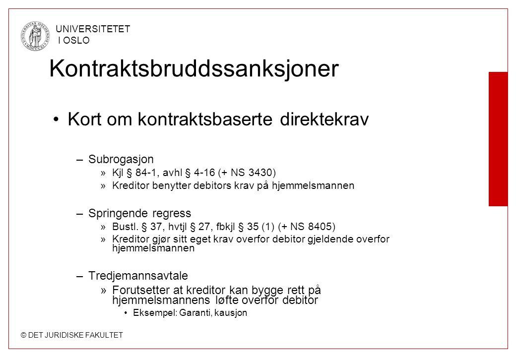 © DET JURIDISKE FAKULTET UNIVERSITETET I OSLO Kontraktsbruddssanksjoner Kort om kontraktsbaserte direktekrav –Subrogasjon »Kjl § 84-1, avhl § 4-16 (+