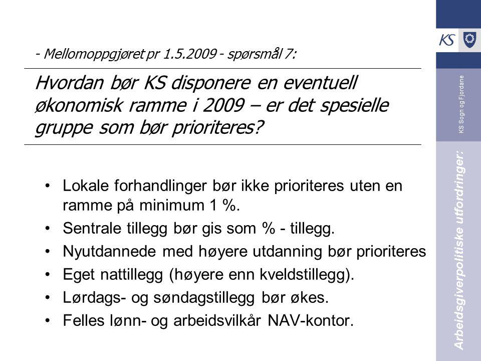 KS Sogn og Fjordane - Mellomoppgjøret pr 1.5.2009 - spørsmål 7: Hvordan bør KS disponere en eventuell økonomisk ramme i 2009 – er det spesielle gruppe som bør prioriteres.