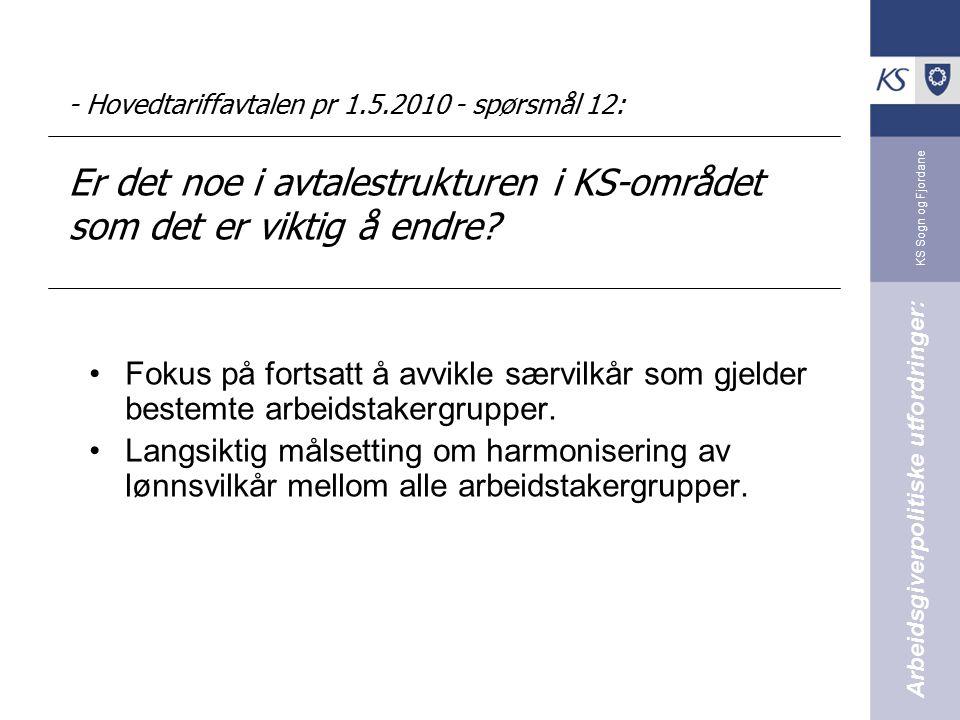KS Sogn og Fjordane - Hovedtariffavtalen pr 1.5.2010 - spørsmål 12: Er det noe i avtalestrukturen i KS-området som det er viktig å endre? Fokus på for