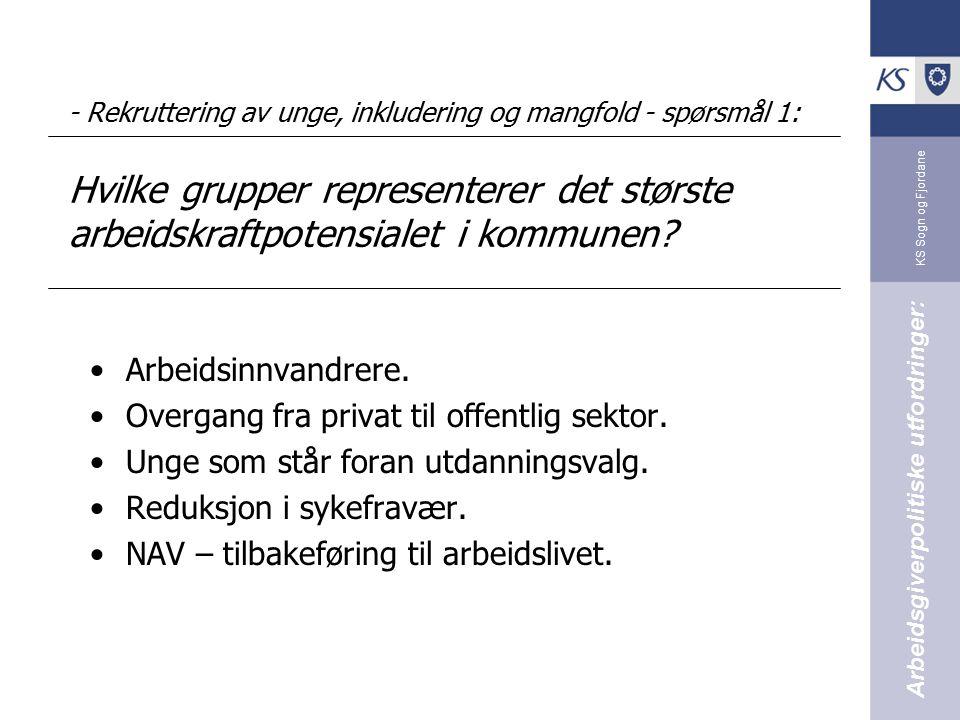 KS Sogn og Fjordane - Rekruttering av unge, inkludering og mangfold - spørsmål 1: Hvilke grupper representerer det største arbeidskraftpotensialet i k