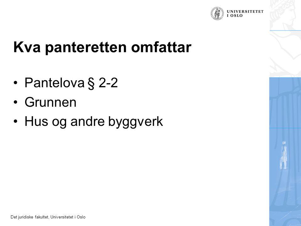 Det juridiske fakultet, Universitetet i Oslo Kva panteretten omfattar Pantelova § 2-2 Grunnen Hus og andre byggverk