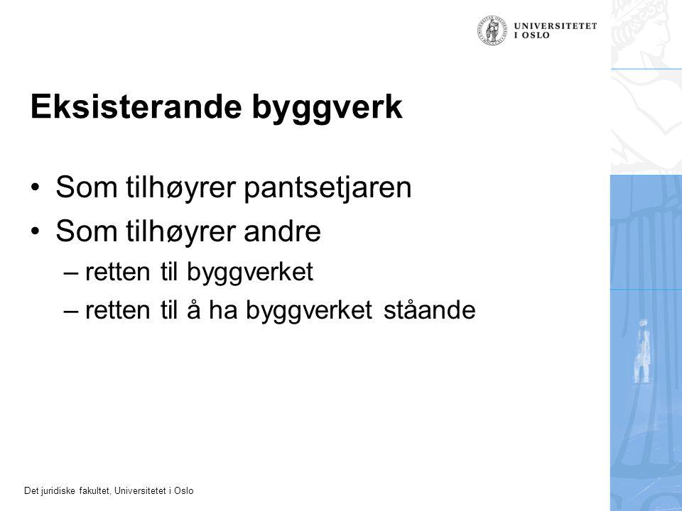 Det juridiske fakultet, Universitetet i Oslo Eksisterande byggverk Som tilhøyrer pantsetjaren Som tilhøyrer andre –retten til byggverket –retten til å ha byggverket ståande