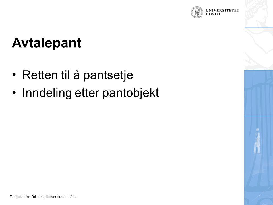Det juridiske fakultet, Universitetet i Oslo Avtalepant Retten til å pantsetje Inndeling etter pantobjekt