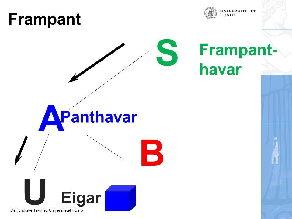 Det juridiske fakultet, Universitetet i Oslo A U Eigar Frampant Panthavar S Frampant- havar B
