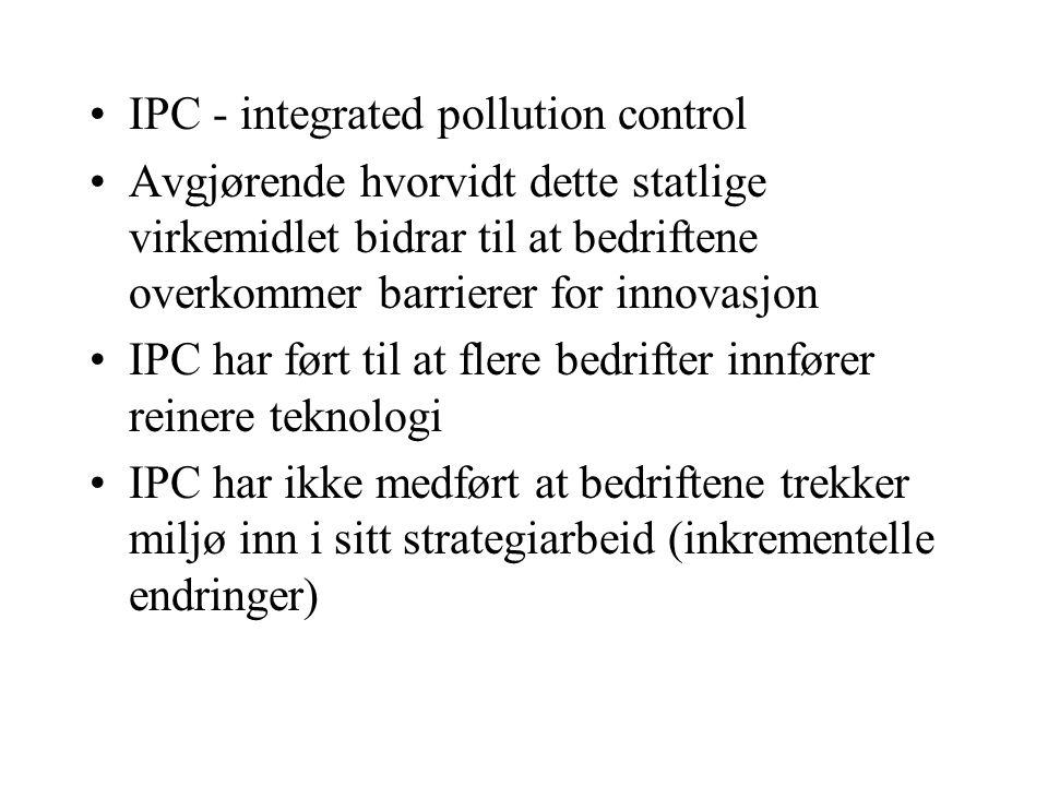 IPC - integrated pollution control Avgjørende hvorvidt dette statlige virkemidlet bidrar til at bedriftene overkommer barrierer for innovasjon IPC har ført til at flere bedrifter innfører reinere teknologi IPC har ikke medført at bedriftene trekker miljø inn i sitt strategiarbeid (inkrementelle endringer)