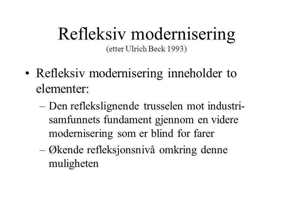Refleksiv modernisering (etter Ulrich Beck 1993) Refleksiv modernisering inneholder to elementer: –Den reflekslignende trusselen mot industri- samfunnets fundament gjennom en videre modernisering som er blind for farer –Økende refleksjonsnivå omkring denne muligheten