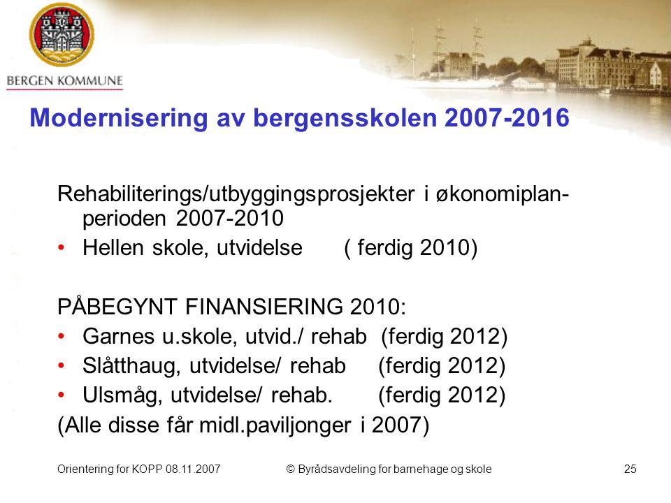 Orientering for KOPP 08.11.2007© Byrådsavdeling for barnehage og skole25 Modernisering av bergensskolen 2007-2016 Rehabiliterings/utbyggingsprosjekter i økonomiplan- perioden 2007-2010 Hellen skole, utvidelse ( ferdig 2010) PÅBEGYNT FINANSIERING 2010: Garnes u.skole, utvid./ rehab (ferdig 2012) Slåtthaug, utvidelse/ rehab (ferdig 2012) Ulsmåg, utvidelse/ rehab.