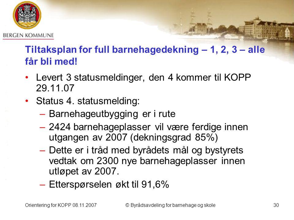 Orientering for KOPP 08.11.2007© Byrådsavdeling for barnehage og skole30 Tiltaksplan for full barnehagedekning – 1, 2, 3 – alle får bli med.