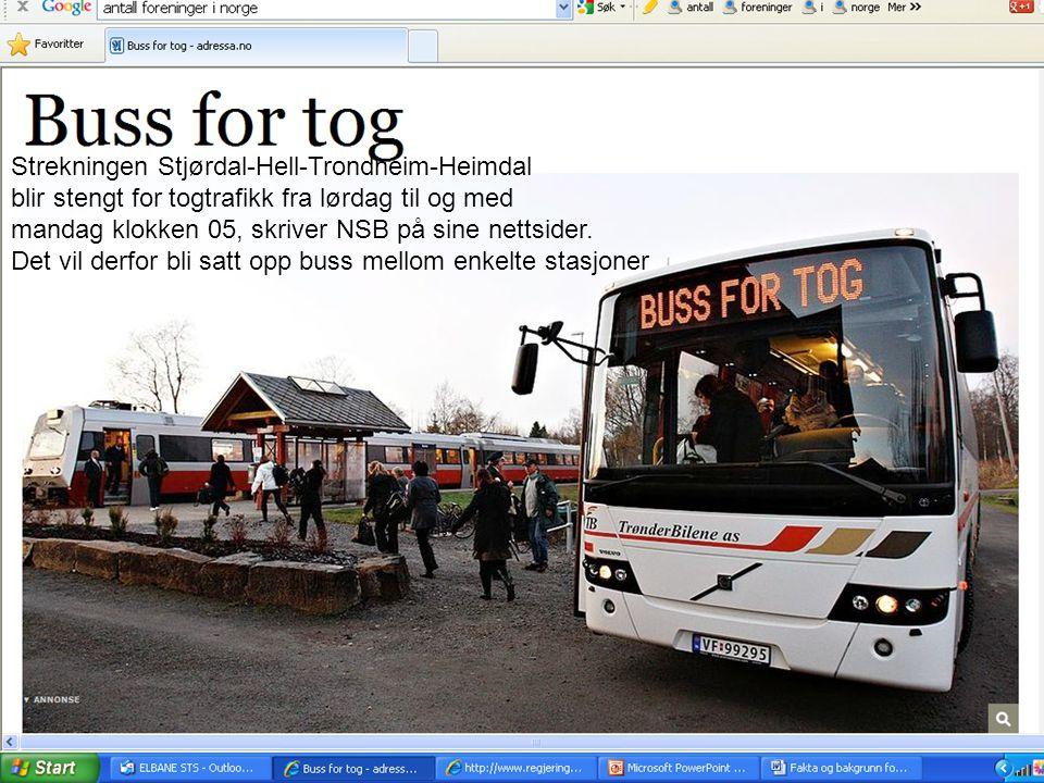 Strekningen Stjørdal-Hell-Trondheim-Heimdal blir stengt for togtrafikk fra lørdag til og med mandag klokken 05, skriver NSB på sine nettsider.