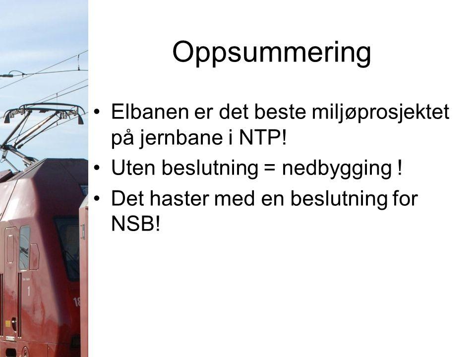 Oppsummering Elbanen er det beste miljøprosjektet på jernbane i NTP! Uten beslutning = nedbygging ! Det haster med en beslutning for NSB!