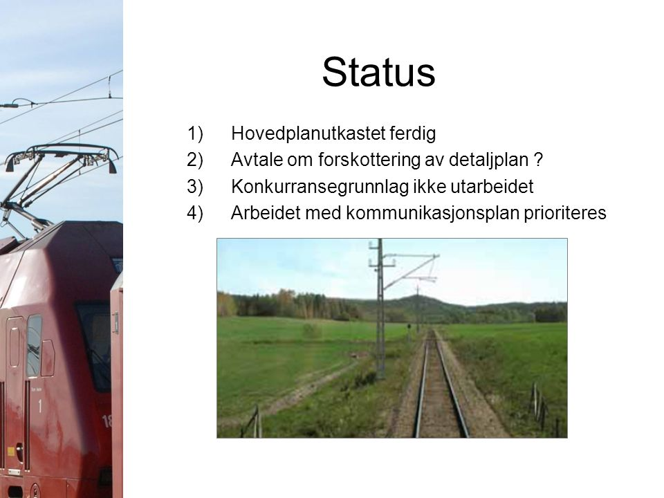 Status 1)Hovedplanutkastet ferdig 2)Avtale om forskottering av detaljplan ? 3)Konkurransegrunnlag ikke utarbeidet 4)Arbeidet med kommunikasjonsplan pr