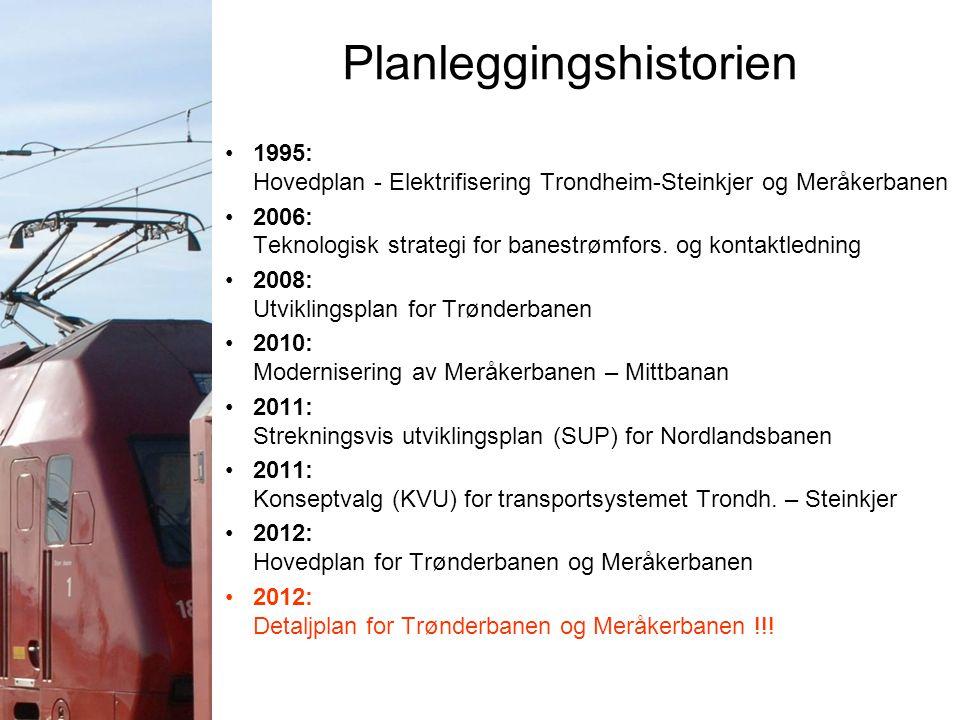 Planleggingshistorien 1995: Hovedplan - Elektrifisering Trondheim-Steinkjer og Meråkerbanen 2006: Teknologisk strategi for banestrømfors. og kontaktle