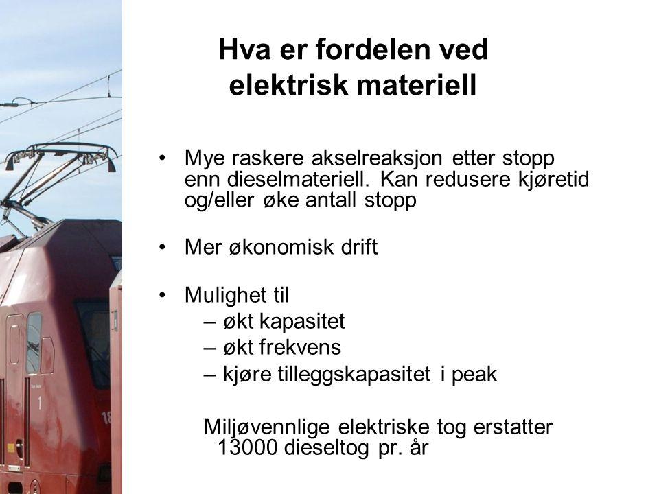 Hva er fordelen ved elektrisk materiell Mye raskere akselreaksjon etter stopp enn dieselmateriell. Kan redusere kjøretid og/eller øke antall stopp Mer