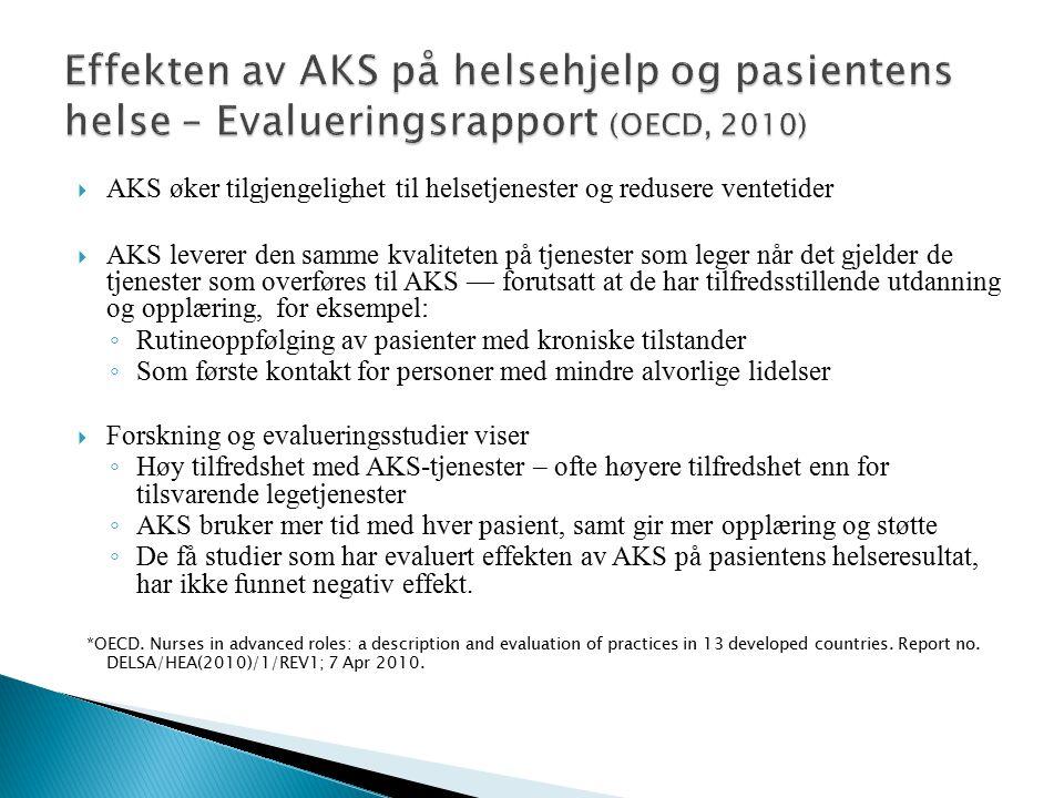  AKS øker tilgjengelighet til helsetjenester og redusere ventetider  AKS leverer den samme kvaliteten på tjenester som leger når det gjelder de tjen
