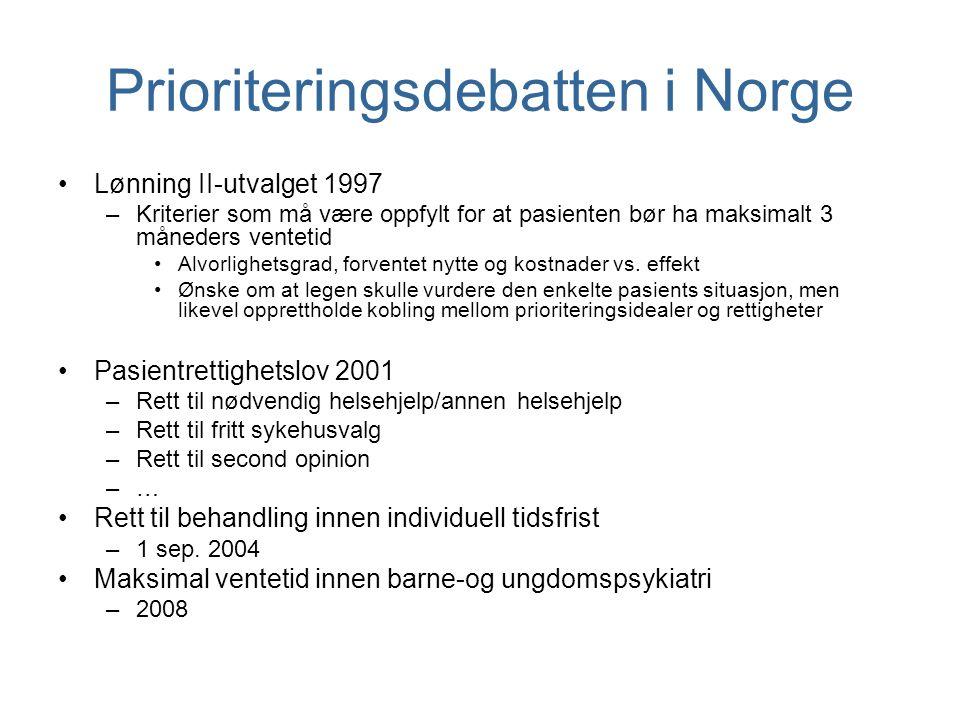 Prioriteringsdebatten i Norge Lønning II-utvalget 1997 –Kriterier som må være oppfylt for at pasienten bør ha maksimalt 3 måneders ventetid Alvorlighe