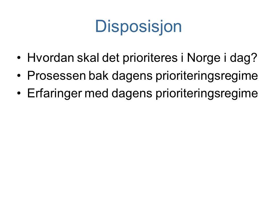 Disposisjon Hvordan skal det prioriteres i Norge i dag? Prosessen bak dagens prioriteringsregime Erfaringer med dagens prioriteringsregime