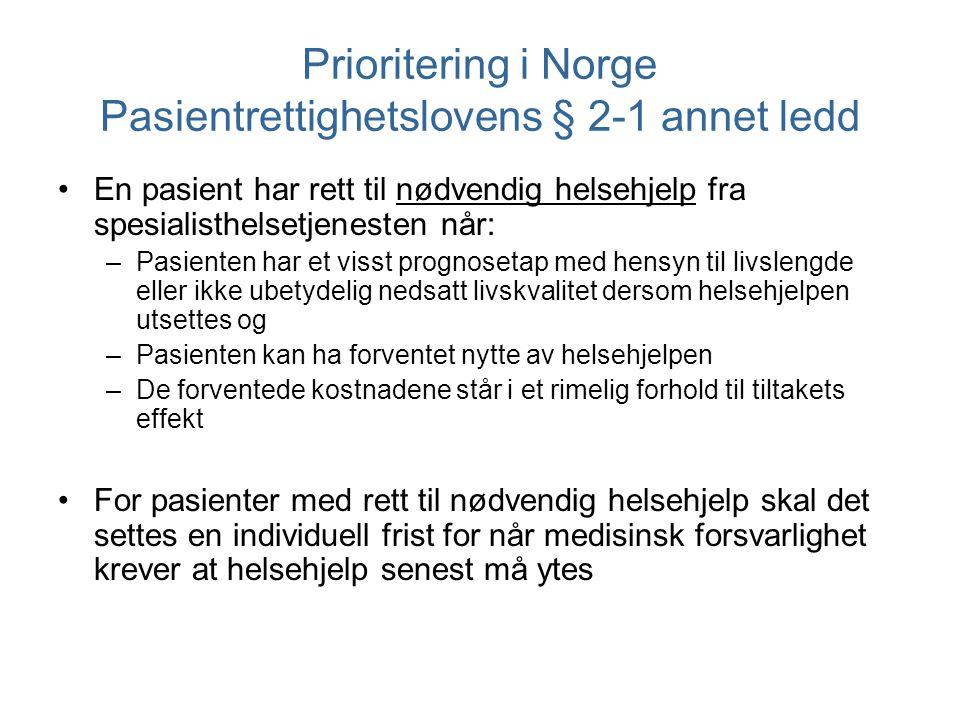 Prioritering i Norge Pasientrettighetslovens § 2-1 annet ledd En pasient har rett til nødvendig helsehjelp fra spesialisthelsetjenesten når: –Pasiente