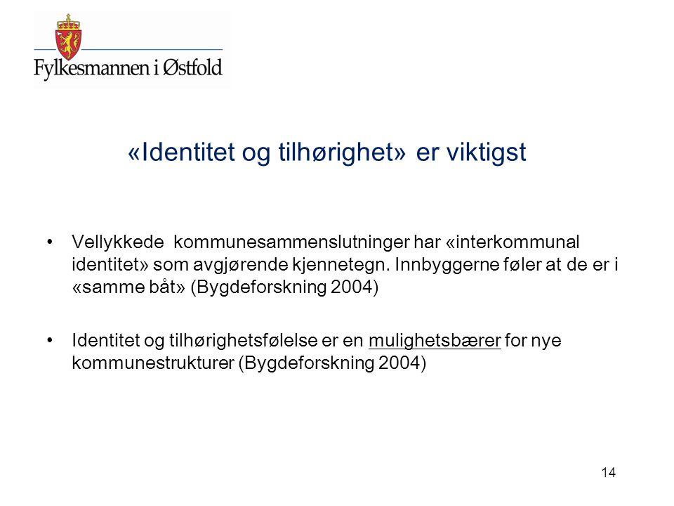 «Identitet og tilhørighet» er viktigst Vellykkede kommunesammenslutninger har «interkommunal identitet» som avgjørende kjennetegn. Innbyggerne føler a
