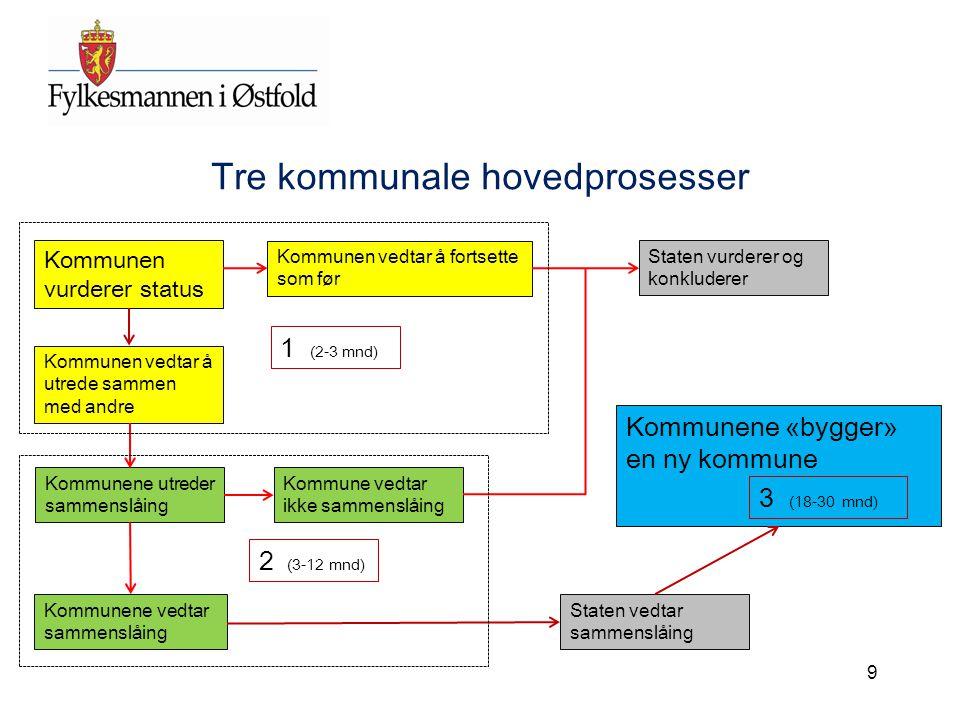 9 Tre kommunale hovedprosesser Kommunen vurderer status Kommunene utreder sammenslåing Staten vurderer og konkluderer Kommunen vedtar å utrede sammen