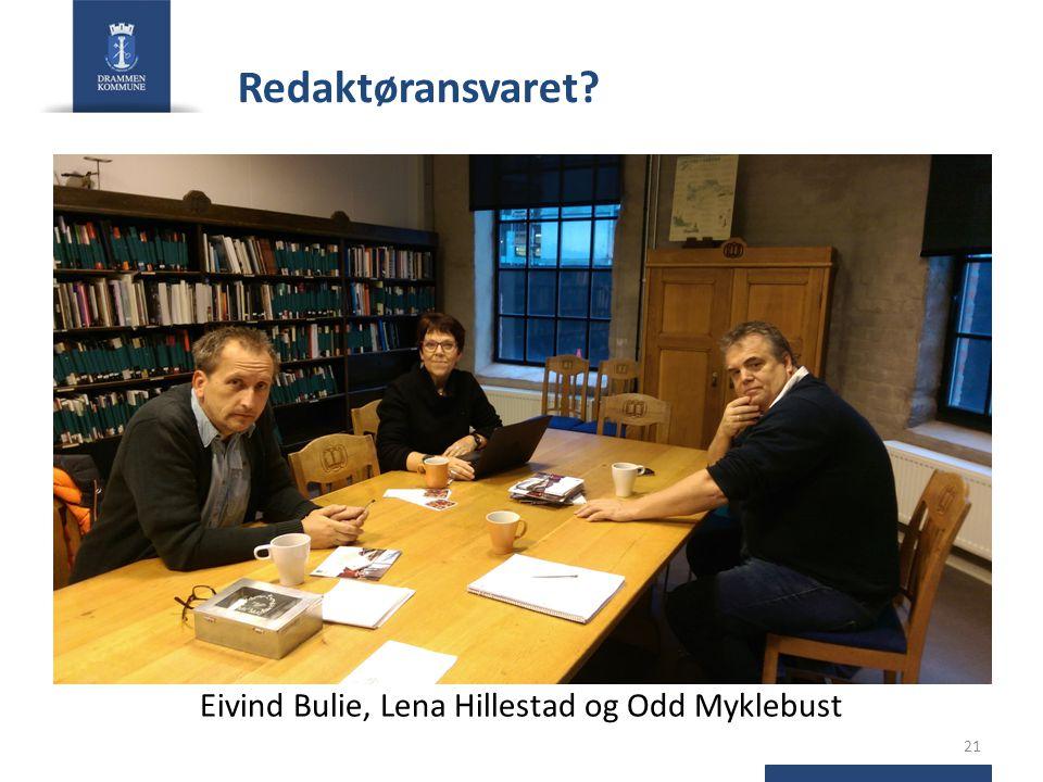 Redaktøransvaret? Eivind Bulie, Lena Hillestad og Odd Myklebust 21