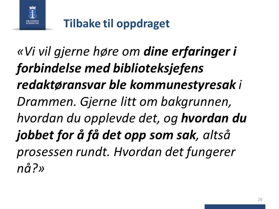 Tilbake til oppdraget «Vi vil gjerne høre om dine erfaringer i forbindelse med biblioteksjefens redaktøransvar ble kommunestyresak i Drammen.