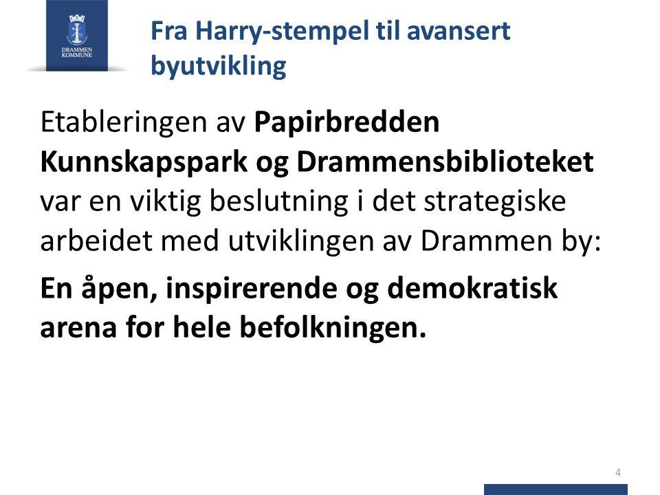 Fra Harry-stempel til avansert byutvikling Etableringen av Papirbredden Kunnskapspark og Drammensbiblioteket var en viktig beslutning i det strategiske arbeidet med utviklingen av Drammen by: En åpen, inspirerende og demokratisk arena for hele befolkningen.