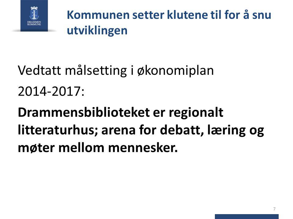 Kommunen setter klutene til for å snu utviklingen Vedtatt målsetting i økonomiplan 2014-2017: Drammensbiblioteket er regionalt litteraturhus; arena for debatt, læring og møter mellom mennesker.