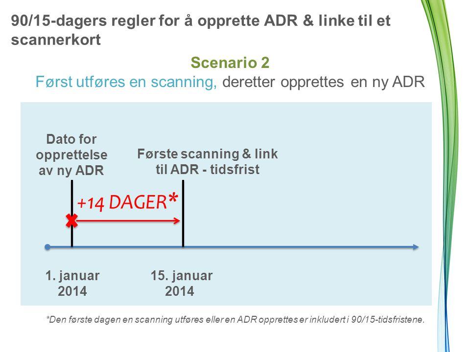 90/15-dagers regler for å opprette ADR & linke til et scannerkort +14 DAGER * Dato for opprettelse av ny ADR Første scanning & link til ADR - tidsfrist 1.