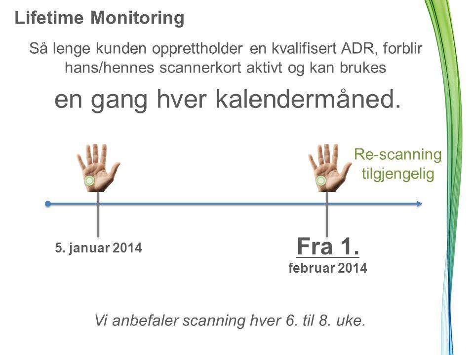 Lifetime Monitoring Så lenge kunden opprettholder en kvalifisert ADR, forblir hans/hennes scannerkort aktivt og kan brukes en gang hver kalendermåned.