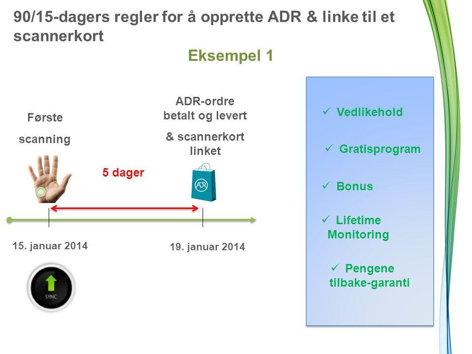 90/15-dagers regler for å opprette ADR & linke til et scannerkort Eksempel 1 Første scanning 5 dager ADR-ordre betalt og levert & scannerkort linket 15.