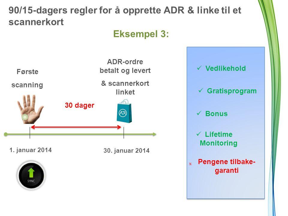 90/15-dagers regler for å opprette ADR & linke til et scannerkort Eksempel 3: Første scanning 30 dager ADR-ordre betalt og levert & scannerkort linket 1.