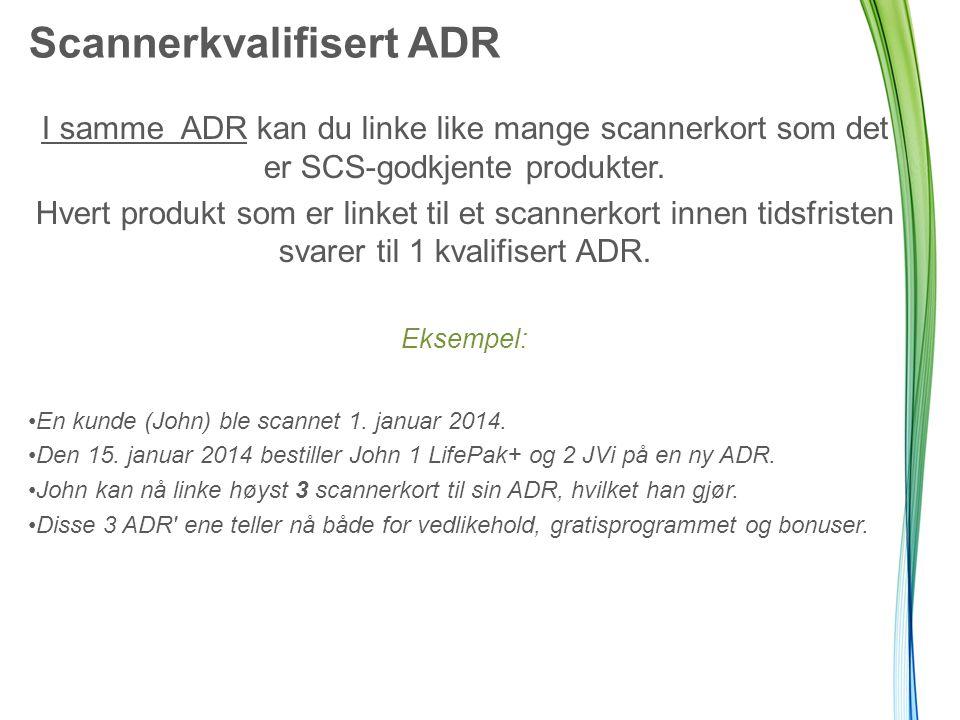 I samme ADR kan du linke like mange scannerkort som det er SCS-godkjente produkter.