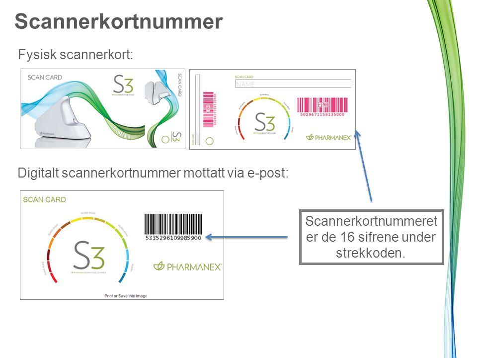 Scannerkortnummer Fysisk scannerkort: Digitalt scannerkortnummer mottatt via e-post: Scannerkortnummeret er de 16 sifrene under strekkoden.