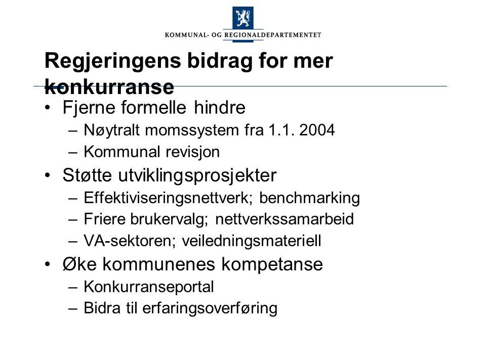 Regjeringens bidrag for mer konkurranse Fjerne formelle hindre –Nøytralt momssystem fra 1.1.