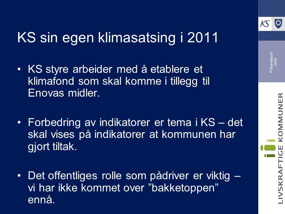 Presentasjon 2006 KS sin egen klimasatsing i 2011 KS styre arbeider med å etablere et klimafond som skal komme i tillegg til Enovas midler.