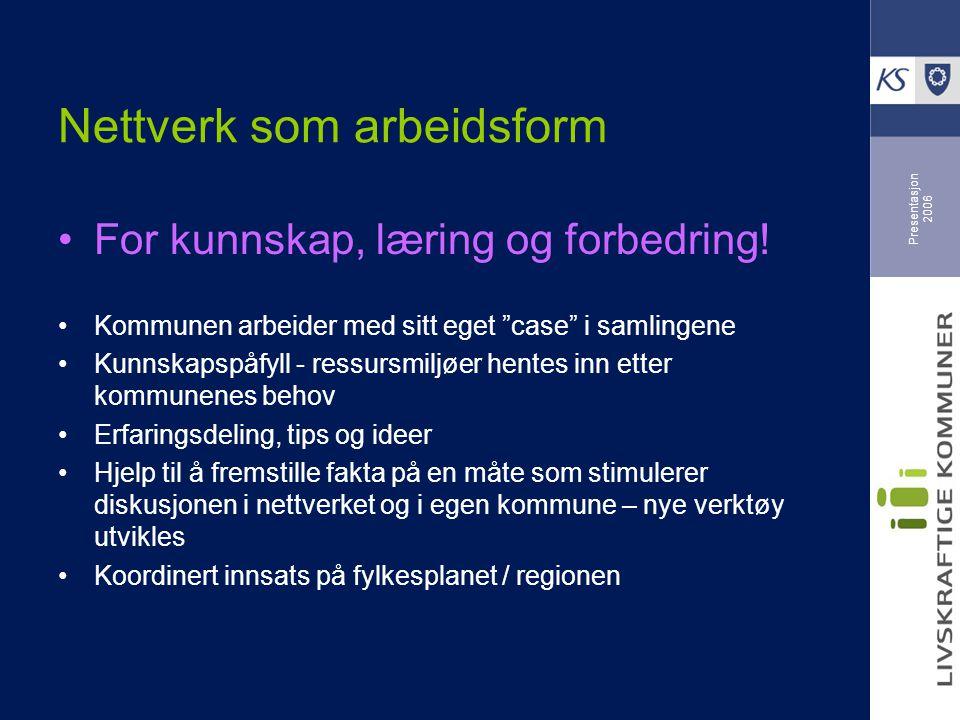 Presentasjon 2006 Nettverk som arbeidsform For kunnskap, læring og forbedring.