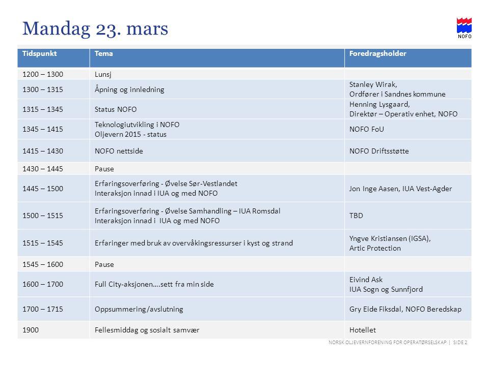 NORSK OLJEVERNFORENING FOR OPERATØRSELSKAP | SIDE 2 TidspunktTemaForedragsholder 1200 – 1300Lunsj 1300 – 1315Åpning og innledning Stanley Wirak, Ordfø