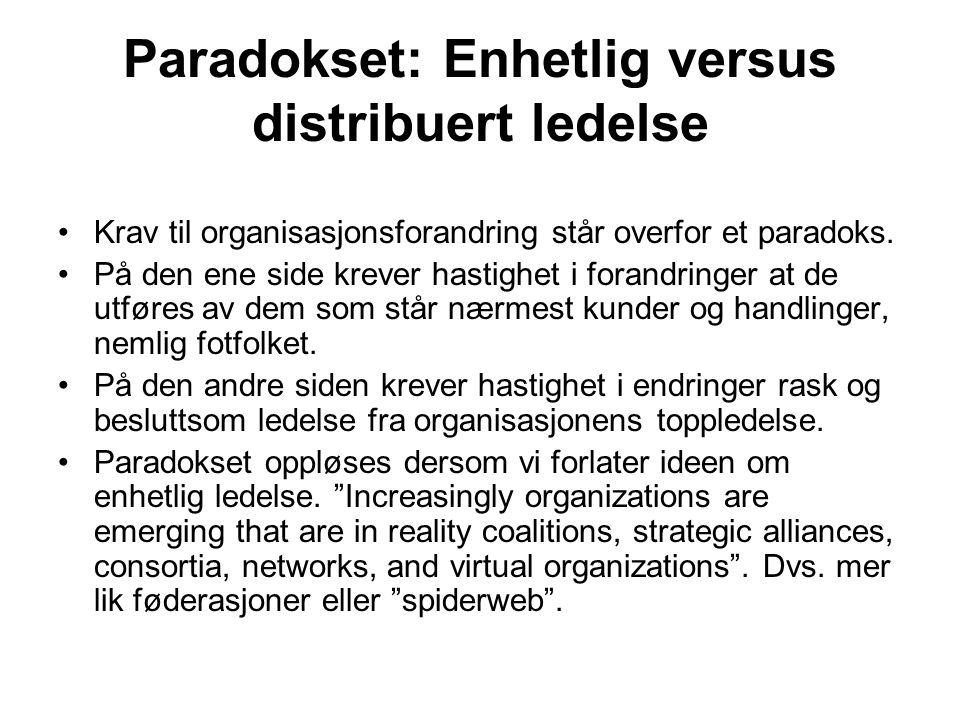 Paradokset: Enhetlig versus distribuert ledelse Krav til organisasjonsforandring står overfor et paradoks. På den ene side krever hastighet i forandri