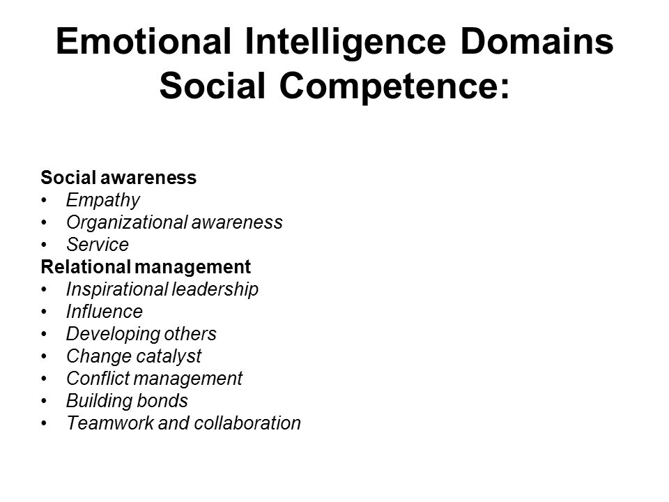 Emotional Intelligence Domains Social Competence: Social awareness Empathy Organizational awareness Service Relational management Inspirational leader