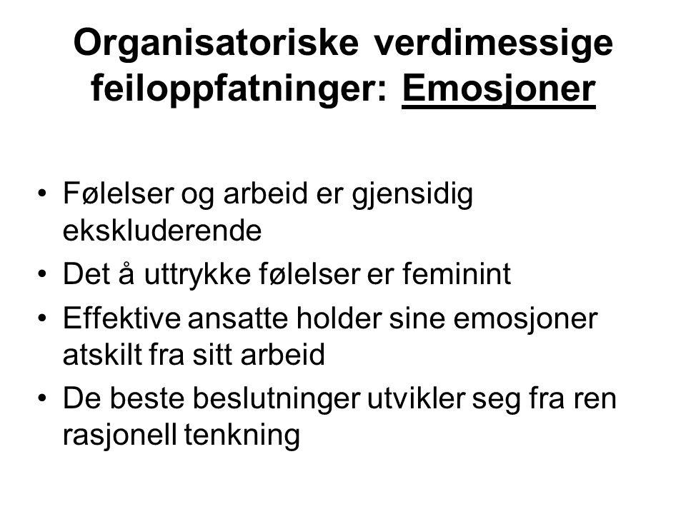 Organisatoriske verdimessige feiloppfatninger: Emosjoner Følelser og arbeid er gjensidig ekskluderende Det å uttrykke følelser er feminint Effektive a