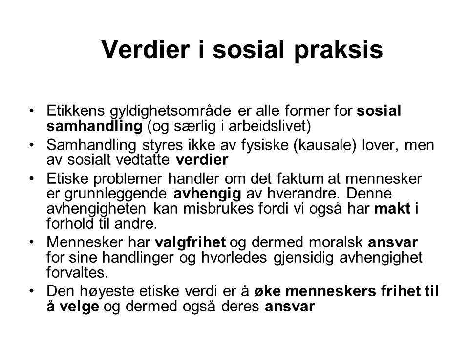 Verdier i sosial praksis Etikkens gyldighetsområde er alle former for sosial samhandling (og særlig i arbeidslivet) Samhandling styres ikke av fysiske
