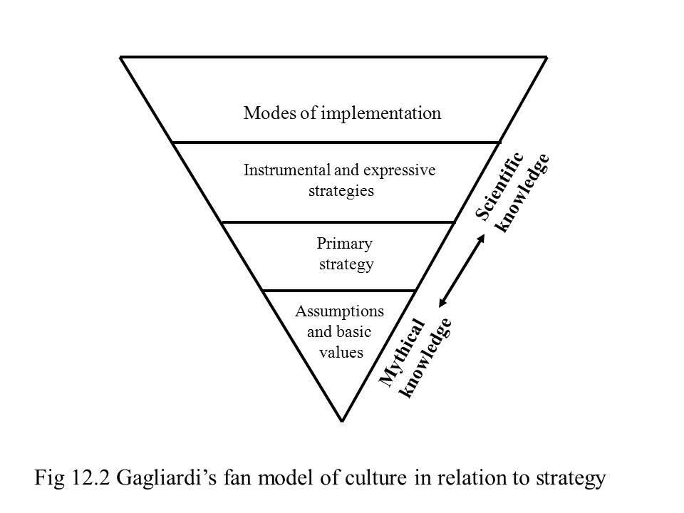 Fig 12.2 Gagliardi's fan model of culture in relation to strategy Modes of implementation Instrumental and expressive strategies Primary strategy Assu