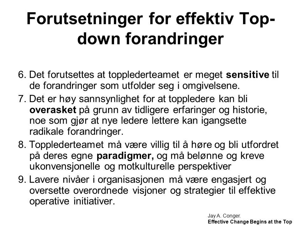 Forutsetninger for effektiv Top- down forandringer 6. Det forutsettes at topplederteamet er meget sensitive til de forandringer som utfolder seg i omg